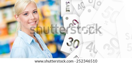 Portrait of young girl at the market. Seasonal sale - stock photo