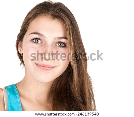 portrait of young girl on a white background - stock photo