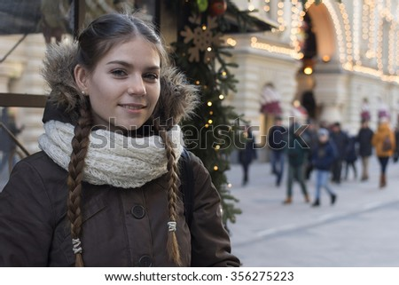 Portrait of young girl Winter Christmas New year time