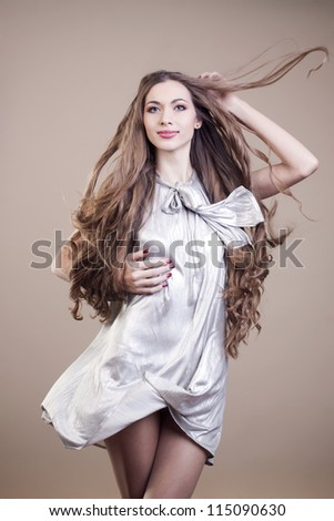 portrait of young girl with beautiful hair - stock photo