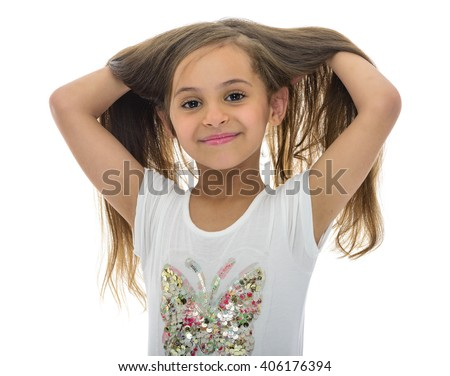 Portrait of Young Girl With Beautiful Hair Isolated on White Background - stock photo