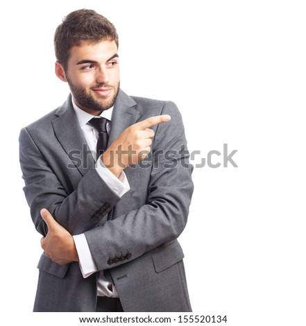 portrait of young handsome business man presenting gesture isolated on white