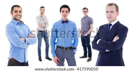 portrait of young handsome business men isolated on white background - stock photo