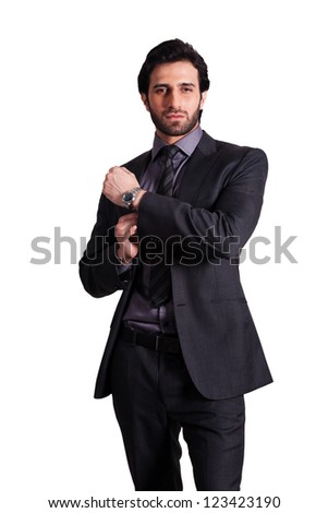 portrait of young handsome businessman isolated on white - stock photo
