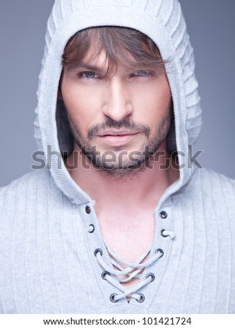 Portrait of young handsome man - stock photo