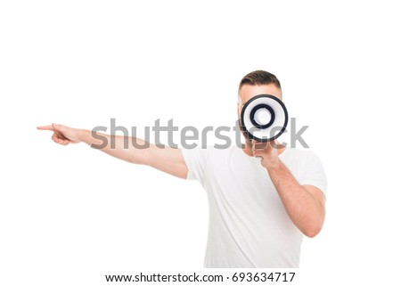 Portrait of young handsome man using megaphone, isolated on white