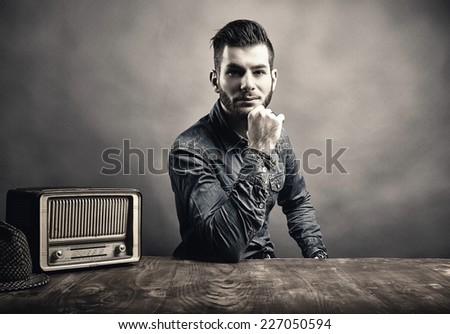 Portrait of young handsome man, Vintage style - stock photo