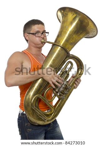 Portrait of young handsome man with saxophone - stock photo