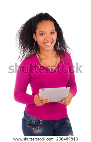 Portrait Of Young Happy African Woman Using Digital Tablet.