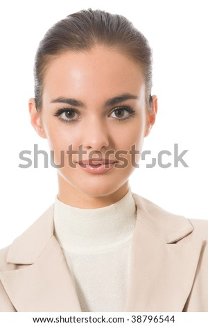 Portrait of young happy businesswoman, isolated on white - stock photo