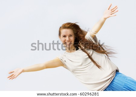 portrait of young happy girl - stock photo