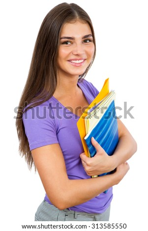 Portrait of young happy girl student - stock photo