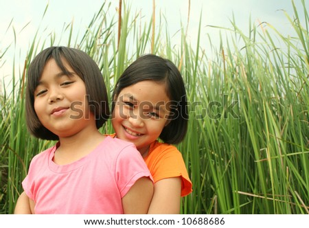 Portrait of young happy girls. - stock photo