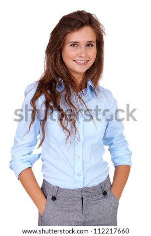 Portrait of young happy smiling attractive businesswoman in blue shirt, isolated on white