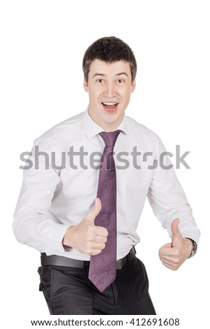Portrait of young happy smiling business man, looking at camera.  image isolated over white background. people, female, business e and portrait concept - stock photo