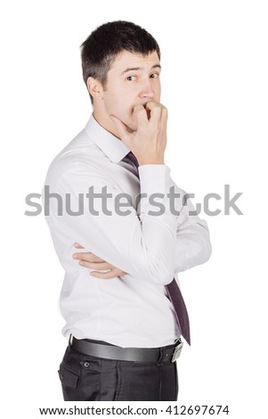 Portrait of young happy smiling business man, looking at camera.  image isolated over white background. people, female, business e and portrait concept