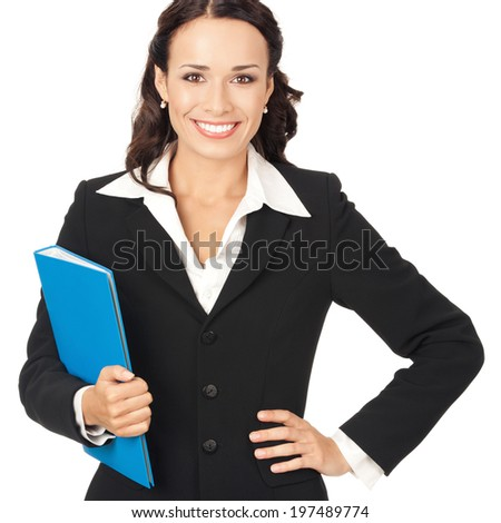 Portrait of young happy smiling business woman with blue folder, isolated on white background