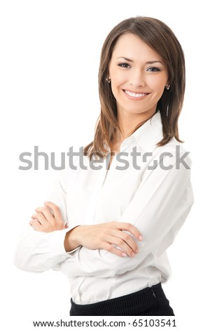 Portrait of young happy smiling businesswoman, isolated on white background - stock photo