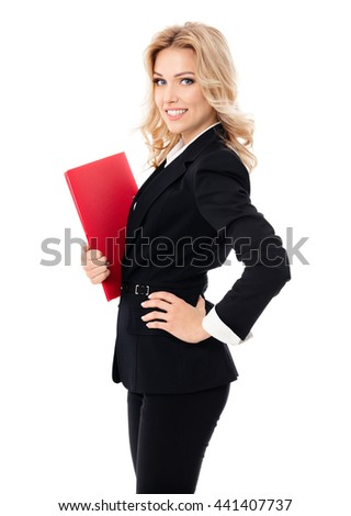 Portrait of young happy smiling businesswoman with red folder, isolated against white background