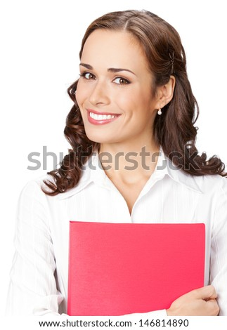 Portrait of young happy smiling businesswoman with red folder, isolated over white background - stock photo