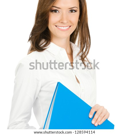 Portrait of young happy smiling cheerful businesswoman with blue folder, isolated over white background - stock photo