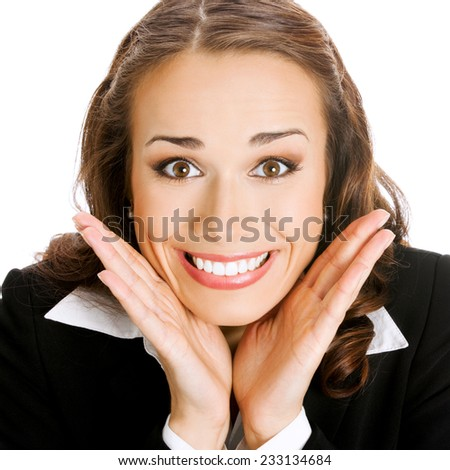 Portrait of young happy smiling surprised business woman, isolated against white background - stock photo