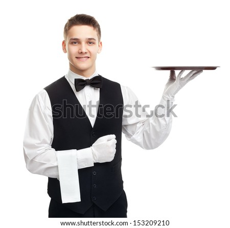 Portrait of young happy smiling waiter with empty tray isolated on white background - stock photo