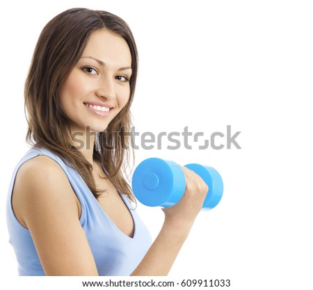 Portrait of young happy smiling woman in sportswear, doing fitness exercise with dumbbell, isolated over white background. Healthy lifestyle and individual sports concept.