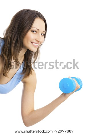 Portrait of young happy smiling woman in sportswear, doing fitness exercise with dumbbell, isolated over white background