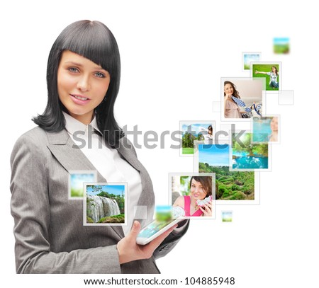 Portrait of young happy woman sharing his photo and video files in social media resources. Isolated on White background