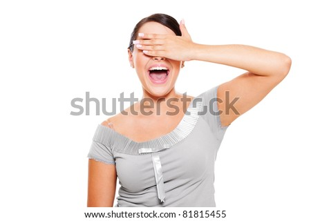 portrait of young happy woman with closed eyes by hand - stock photo
