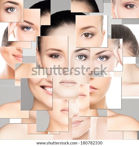 Portrait of young, healthy and beautiful woman (plastic surgery, medicine, spa, cosmetics and visage concept) - stock photo