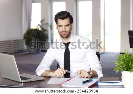 Portrait of young lawyer working on laptop while sitting at office.