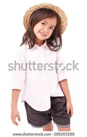 portrait of young little girl - stock photo