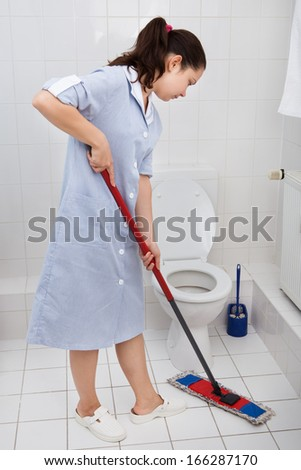 Portrait Of Young Maid In Uniform Cleaning Toilet - stock photo