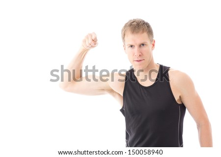 portrait of young male athlete cheering on white background