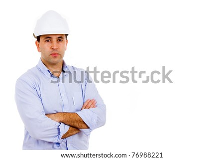 Portrait of young male civil engineer. Isolated on white background and much space for own text