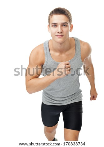 Portrait of young man athlete running isolated on white background - stock photo