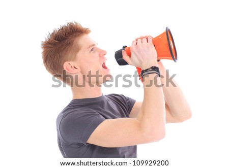 portrait of young man handsome shouting using megaphon - stock photo