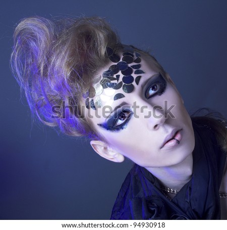 Portrait of young man in dark creative image