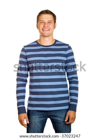 Portrait of young man  isolated on white background - stock photo