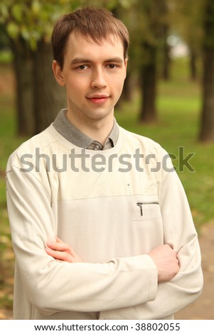 portrait of young man outdoor in summer