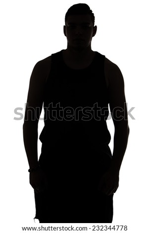 Portrait of young man's silhouette on white background