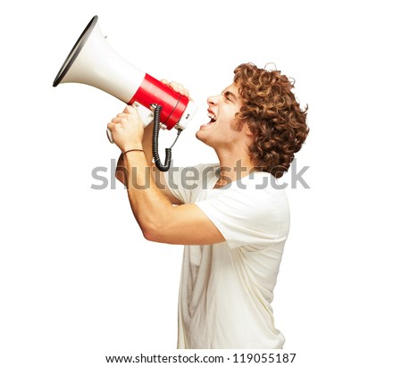 Portrait Of Young Man Shouting With A Megaphone Isolated On White Background