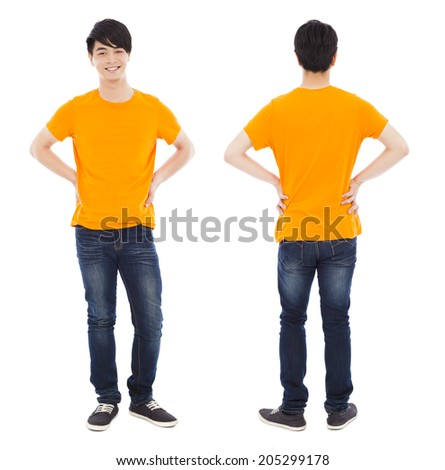 portrait of young man standing ,front and back - stock photo