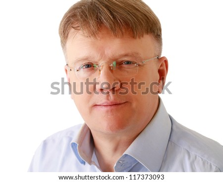 Portrait of young man wearing glasses, isolated on white background