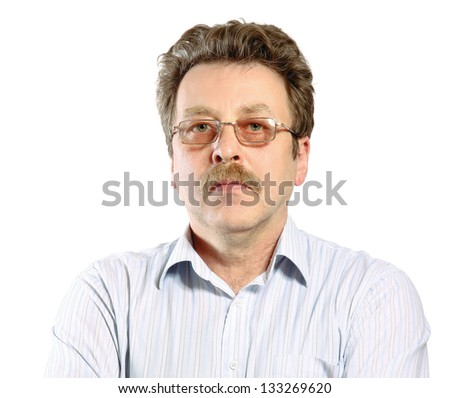 Portrait of young man wearing glasses, isolated on white background - stock photo