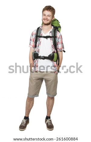 portrait of young man with backpack isolated over white background - stock photo