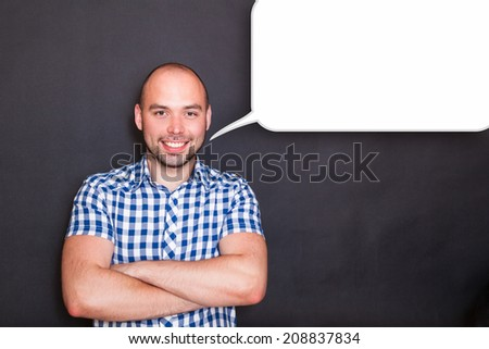 portrait of  young man with  empty speech bubble  - stock photo