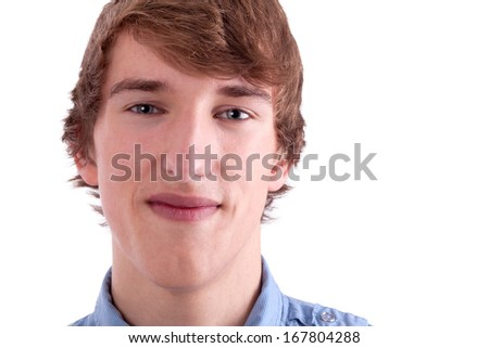 Portrait of young man with shirt - stock photo